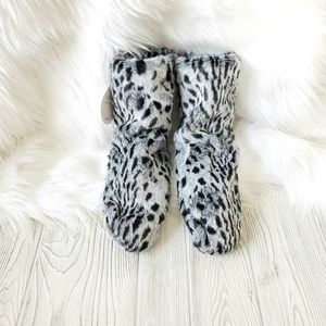 Leopard Print Fluffy Slipper Booties